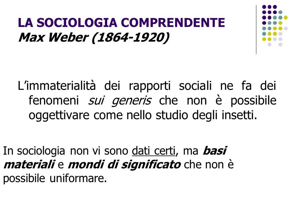 LA SOCIOLOGIA COMPRENDENTE Max Weber (1864-1920)