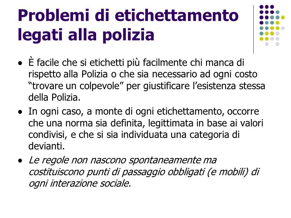 Problemi di etichettamento legati alla polizia