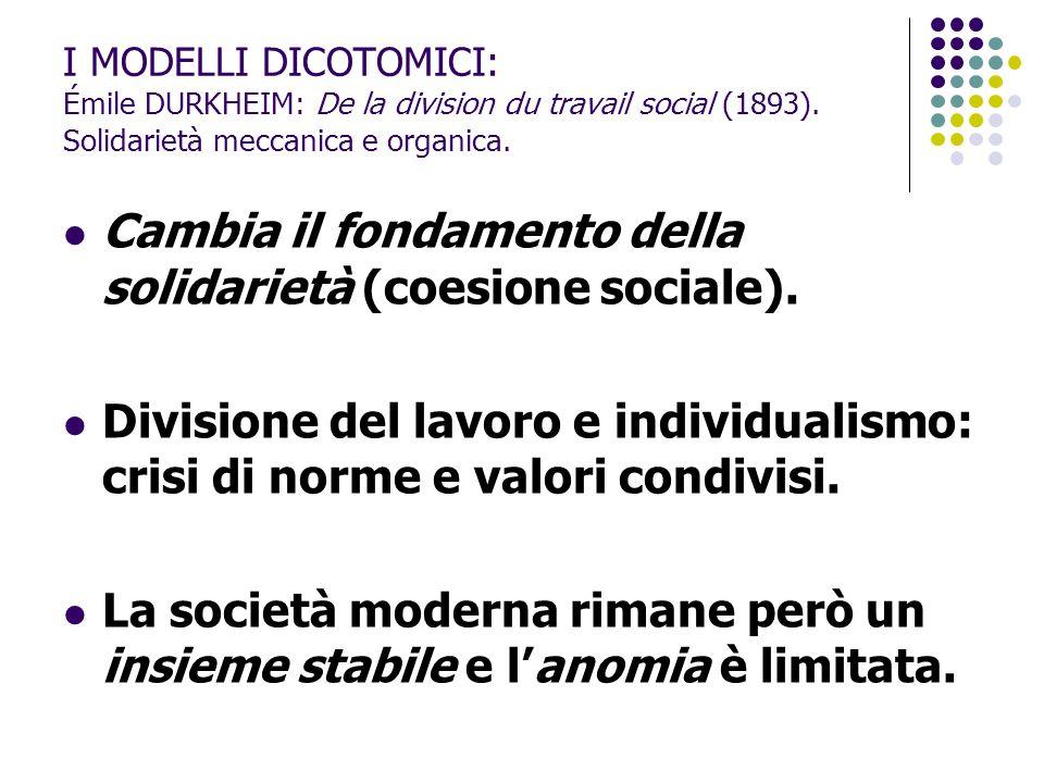 Cambia il fondamento della solidarietà (coesione sociale).