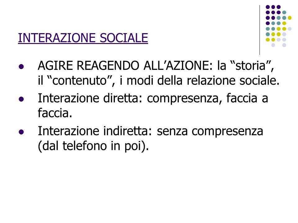 INTERAZIONE SOCIALE AGIRE REAGENDO ALL'AZIONE: la storia , il contenuto , i modi della relazione sociale.