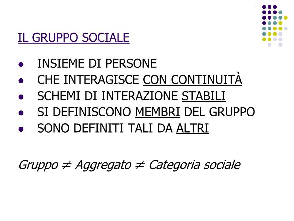 IL GRUPPO SOCIALE INSIEME DI PERSONE. CHE INTERAGISCE CON CONTINUITÀ. SCHEMI DI INTERAZIONE STABILI.