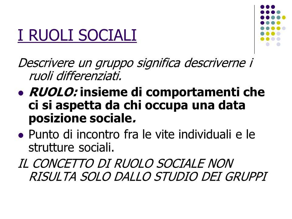 I RUOLI SOCIALI Descrivere un gruppo significa descriverne i ruoli differenziati.
