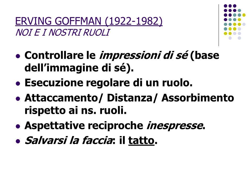 ERVING GOFFMAN (1922-1982) NOI E I NOSTRI RUOLI