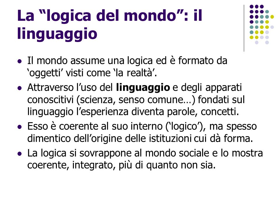 La logica del mondo : il linguaggio