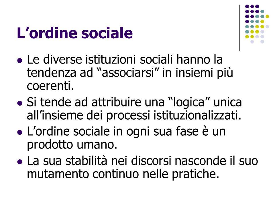 L'ordine sociale Le diverse istituzioni sociali hanno la tendenza ad associarsi in insiemi più coerenti.