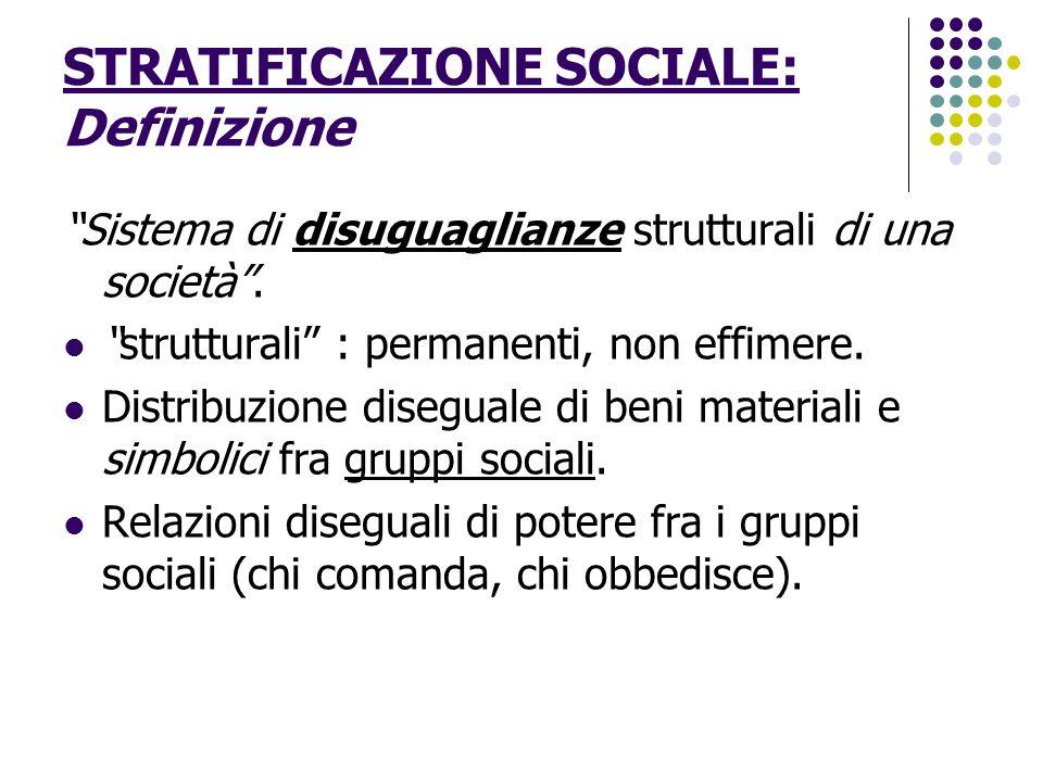 STRATIFICAZIONE SOCIALE: Definizione