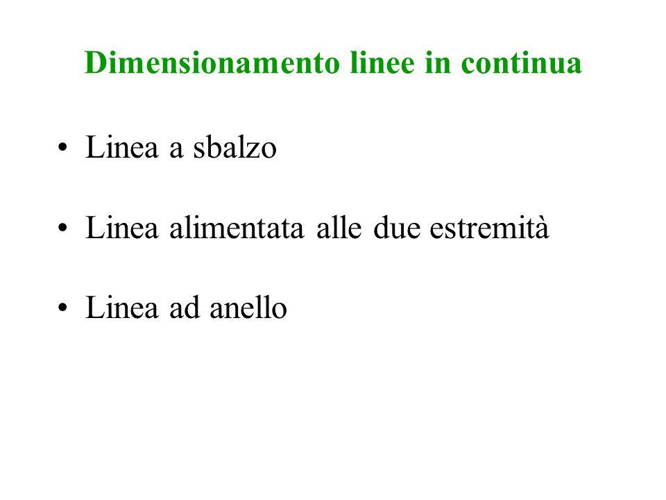 Dimensionamento linee in continua