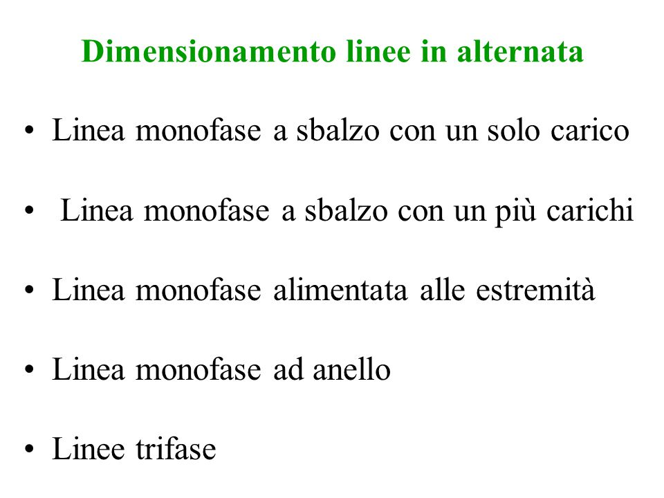 Dimensionamento linee in alternata