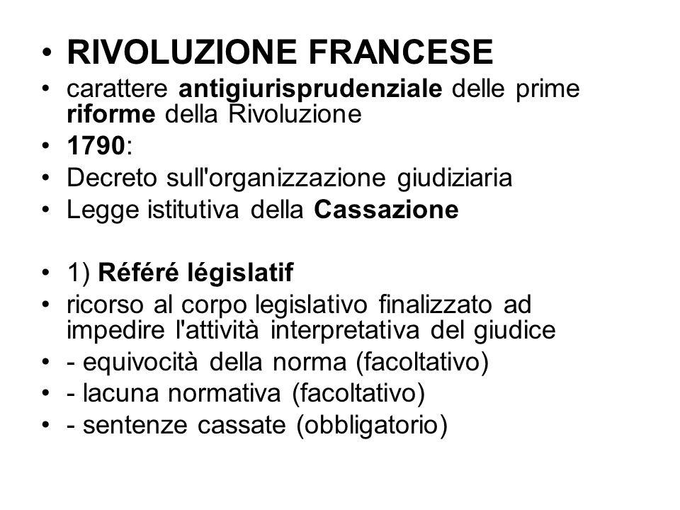RIVOLUZIONE FRANCESE carattere antigiurisprudenziale delle prime riforme della Rivoluzione. 1790: Decreto sull organizzazione giudiziaria.