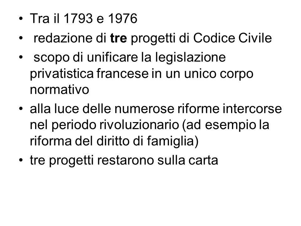 Tra il 1793 e 1976 redazione di tre progetti di Codice Civile. scopo di unificare la legislazione privatistica francese in un unico corpo normativo.