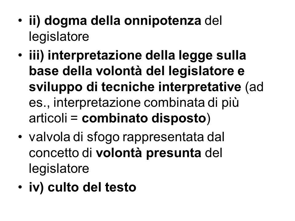 ii) dogma della onnipotenza del legislatore