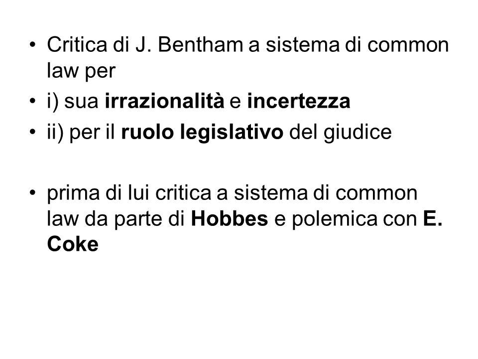 Critica di J. Bentham a sistema di common law per