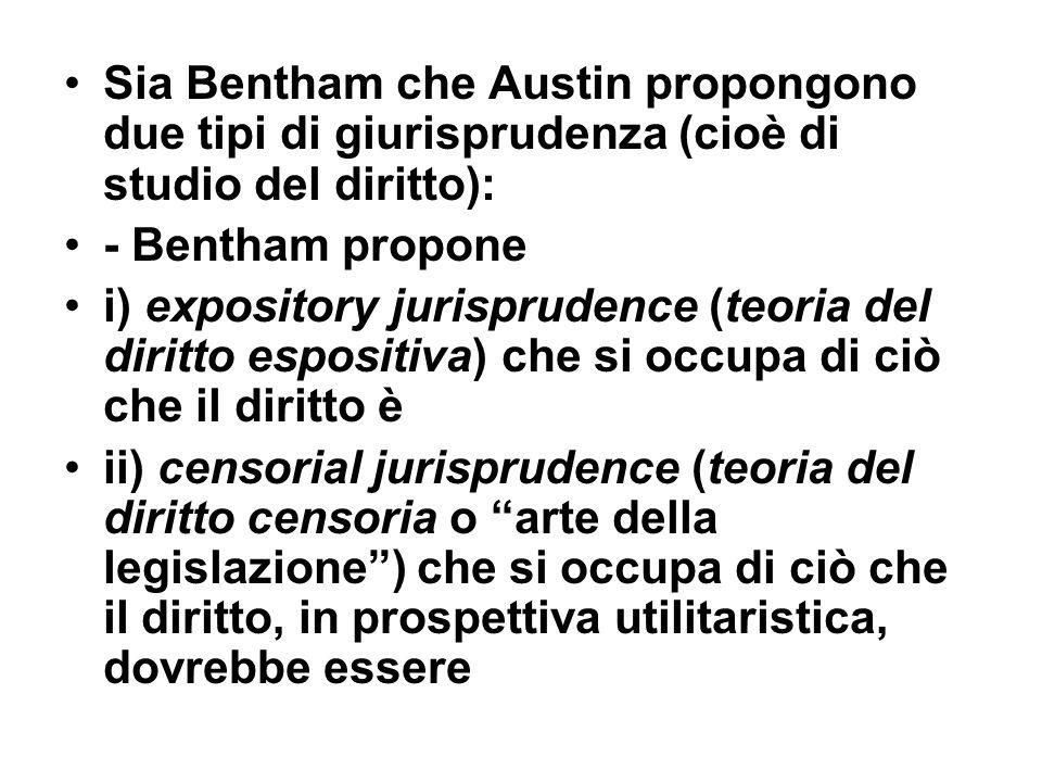 Sia Bentham che Austin propongono due tipi di giurisprudenza (cioè di studio del diritto):