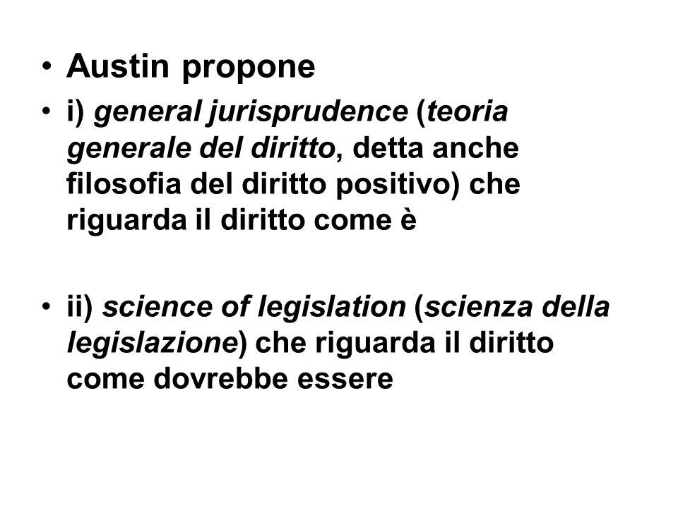 Austin propone i) general jurisprudence (teoria generale del diritto, detta anche filosofia del diritto positivo) che riguarda il diritto come è.