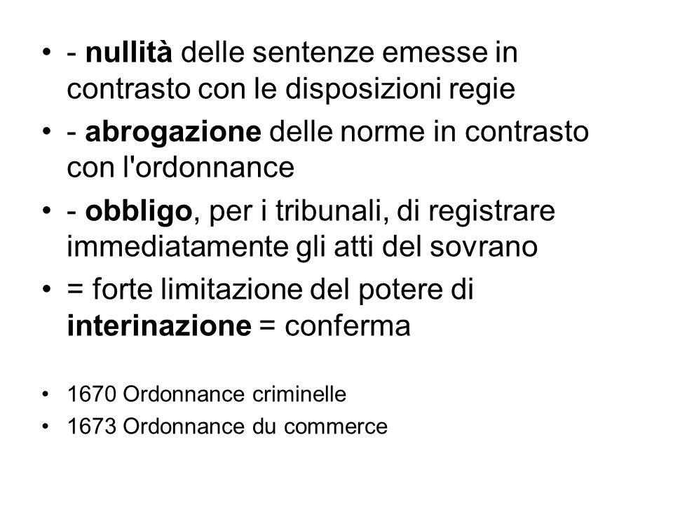 - nullità delle sentenze emesse in contrasto con le disposizioni regie