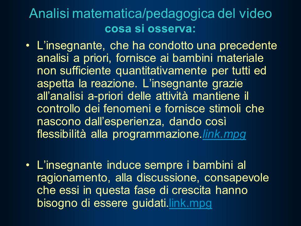 Analisi matematica/pedagogica del video cosa si osserva: