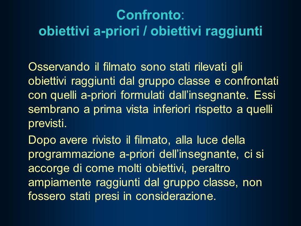 Confronto: obiettivi a-priori / obiettivi raggiunti