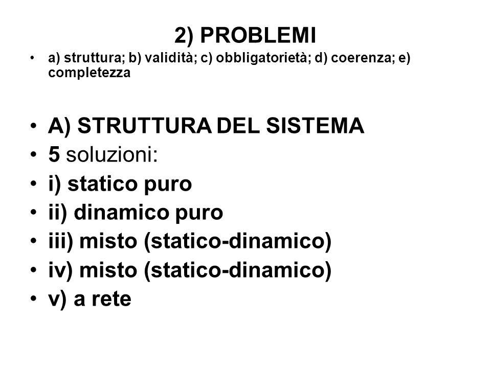 A) STRUTTURA DEL SISTEMA 5 soluzioni: i) statico puro