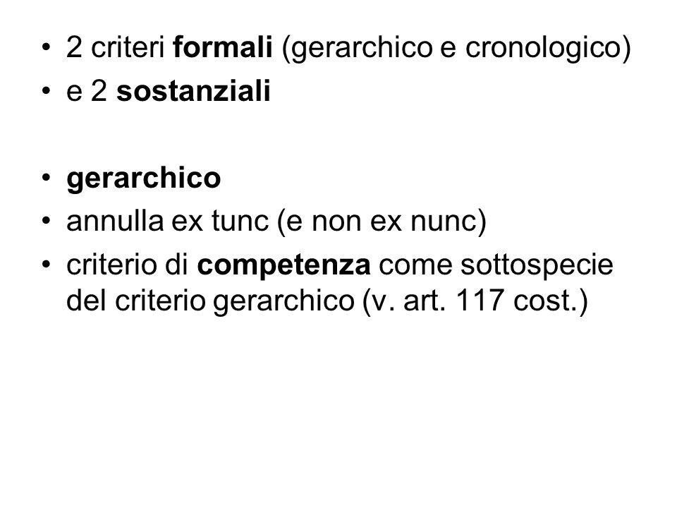 2 criteri formali (gerarchico e cronologico)