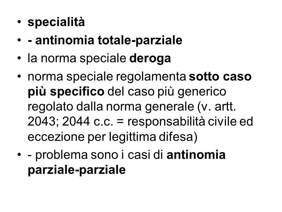 specialità - antinomia totale-parziale. la norma speciale deroga.