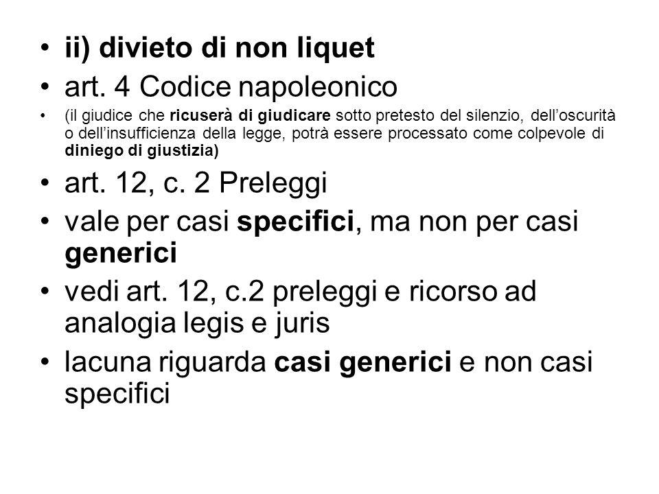 ii) divieto di non liquet art. 4 Codice napoleonico