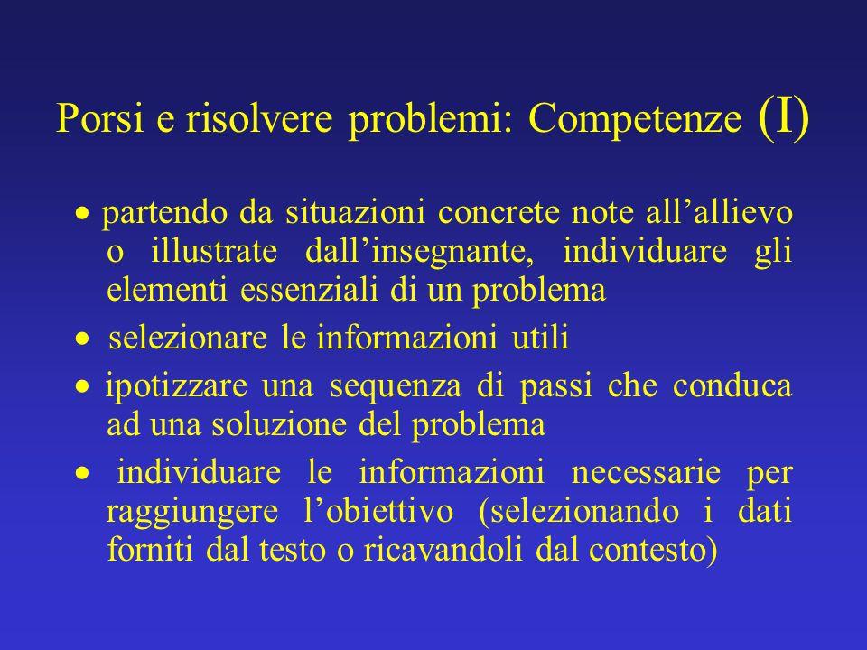 Porsi e risolvere problemi: Competenze (I)