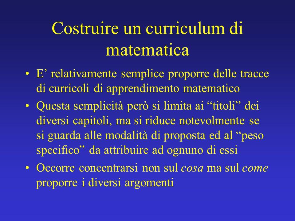 Costruire un curriculum di matematica