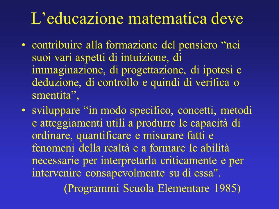L'educazione matematica deve
