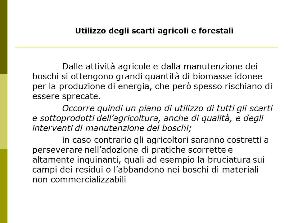 Utilizzo degli scarti agricoli e forestali