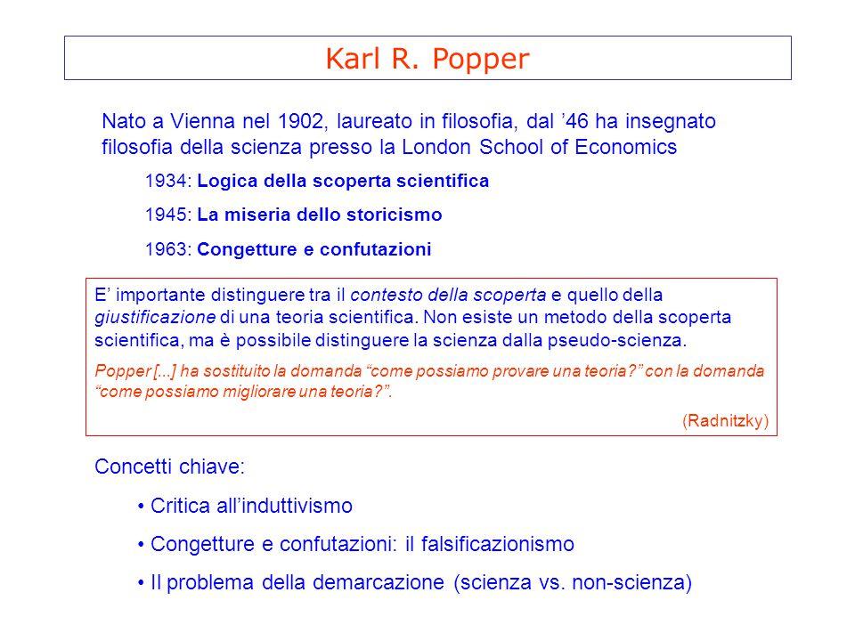 Karl R. Popper Nato a Vienna nel 1902, laureato in filosofia, dal '46 ha insegnato filosofia della scienza presso la London School of Economics.