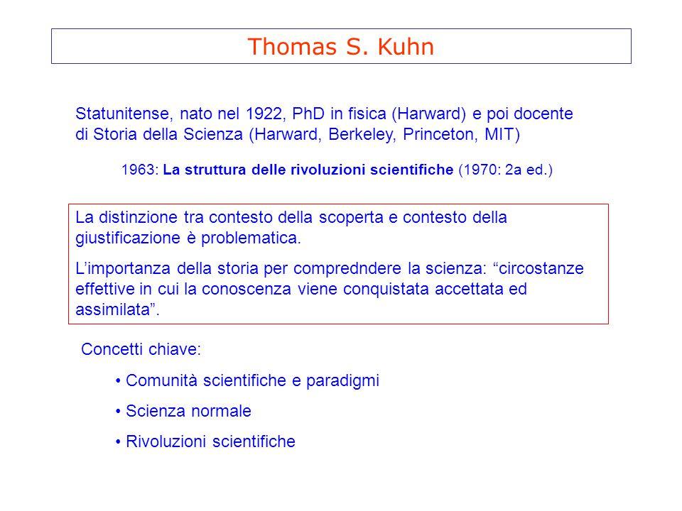 Thomas S. Kuhn Statunitense, nato nel 1922, PhD in fisica (Harward) e poi docente di Storia della Scienza (Harward, Berkeley, Princeton, MIT)