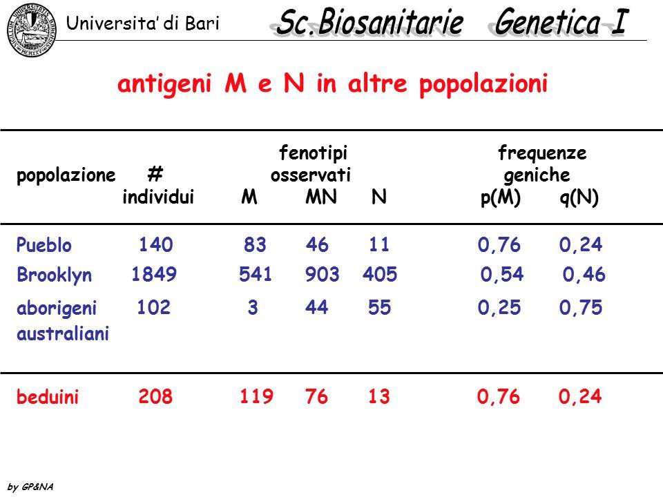 antigeni M e N in altre popolazioni
