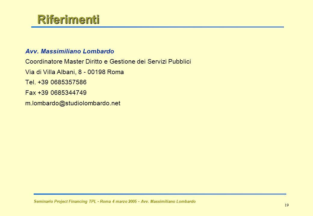 Riferimenti Avv. Massimiliano Lombardo