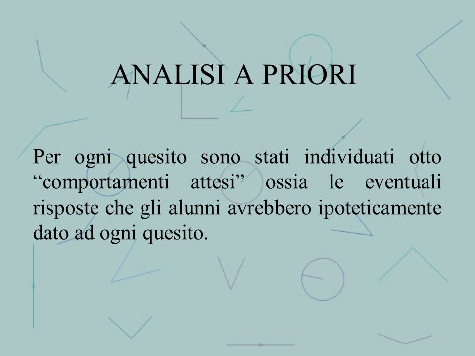ANALISI A PRIORI