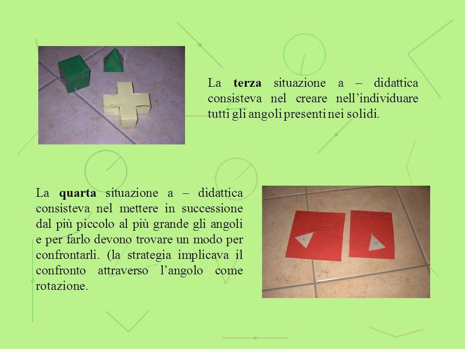 La terza situazione a – didattica consisteva nel creare nell'individuare tutti gli angoli presenti nei solidi.