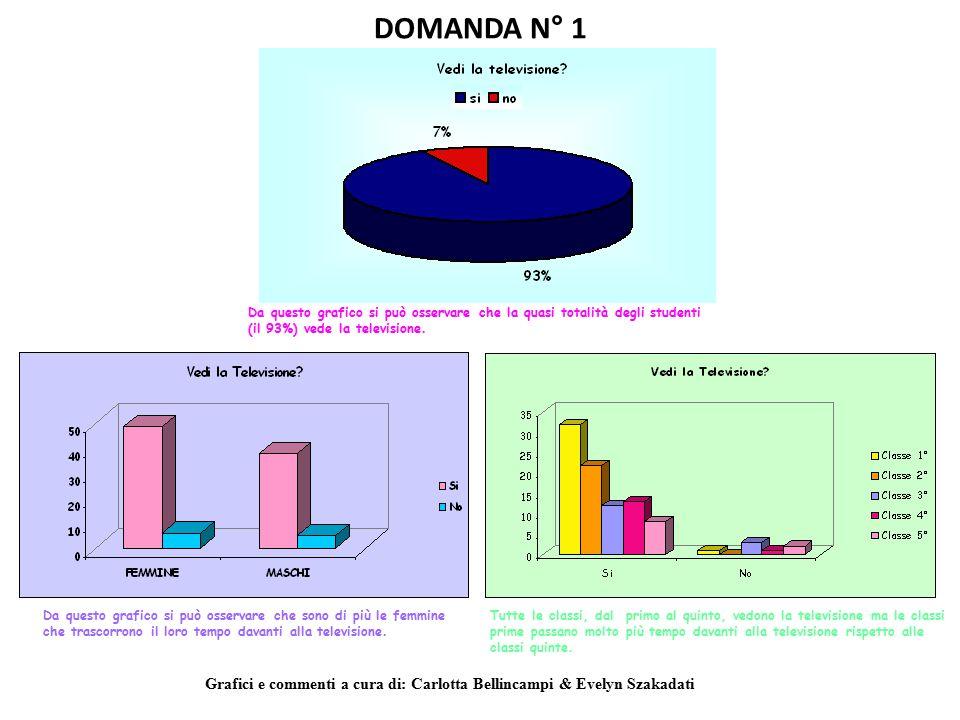DOMANDA N° 1 Da questo grafico si può osservare che la quasi totalità degli studenti (il 93%) vede la televisione.