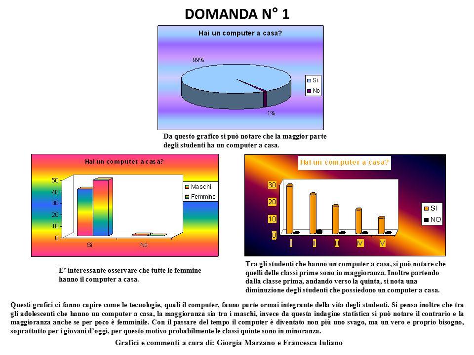 DOMANDA N° 1 Da questo grafico si può notare che la maggior parte degli studenti ha un computer a casa.
