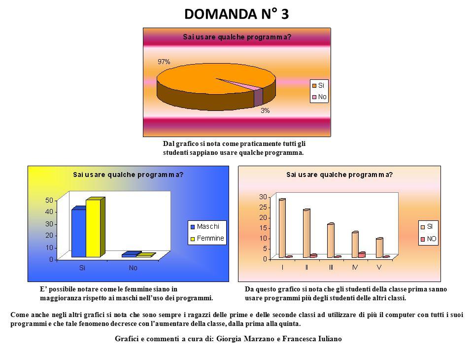 DOMANDA N° 3 Dal grafico si nota come praticamente tutti gli studenti sappiano usare qualche programma.