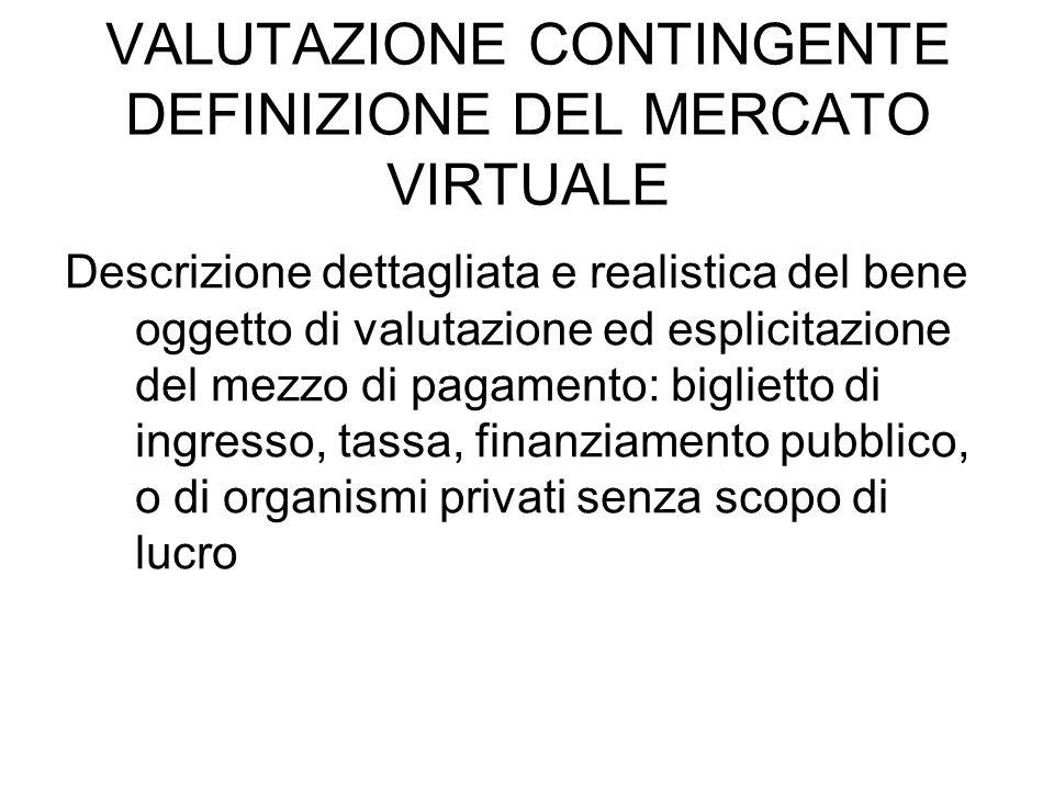 VALUTAZIONE CONTINGENTE DEFINIZIONE DEL MERCATO VIRTUALE