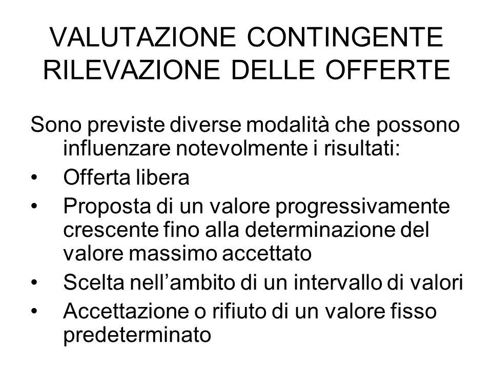 VALUTAZIONE CONTINGENTE RILEVAZIONE DELLE OFFERTE
