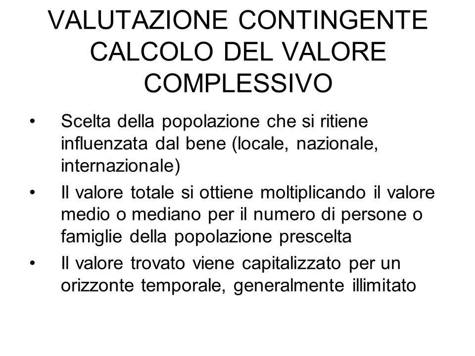 VALUTAZIONE CONTINGENTE CALCOLO DEL VALORE COMPLESSIVO