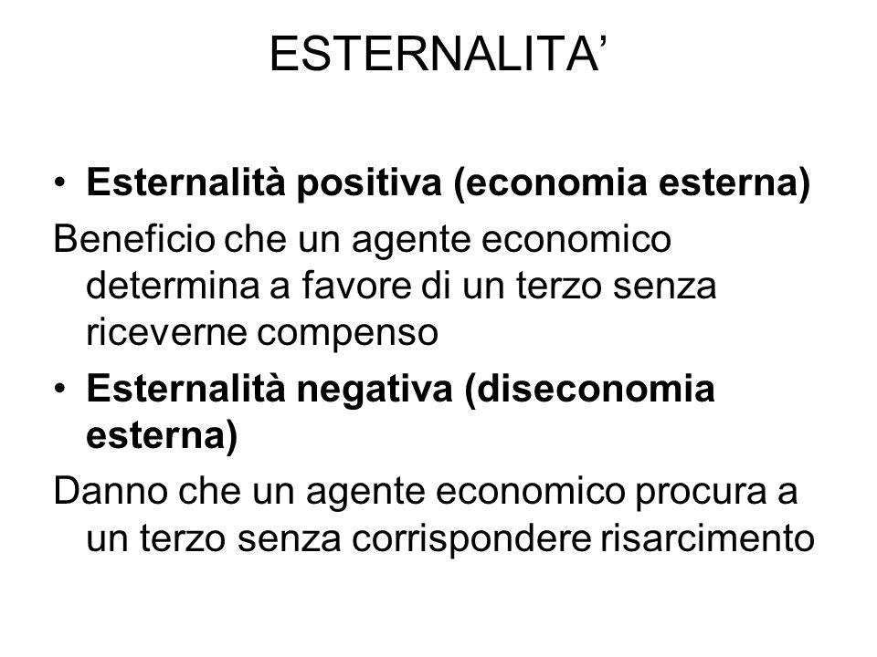 ESTERNALITA' Esternalità positiva (economia esterna)