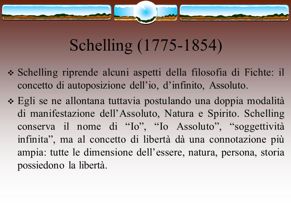 Schelling (1775-1854) Schelling riprende alcuni aspetti della filosofia di Fichte: il concetto di autoposizione dell'io, d'infinito, Assoluto.