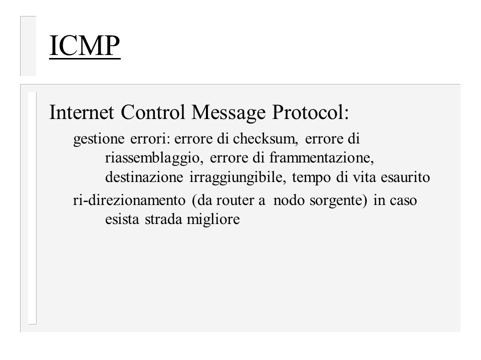 ICMP Internet Control Message Protocol: