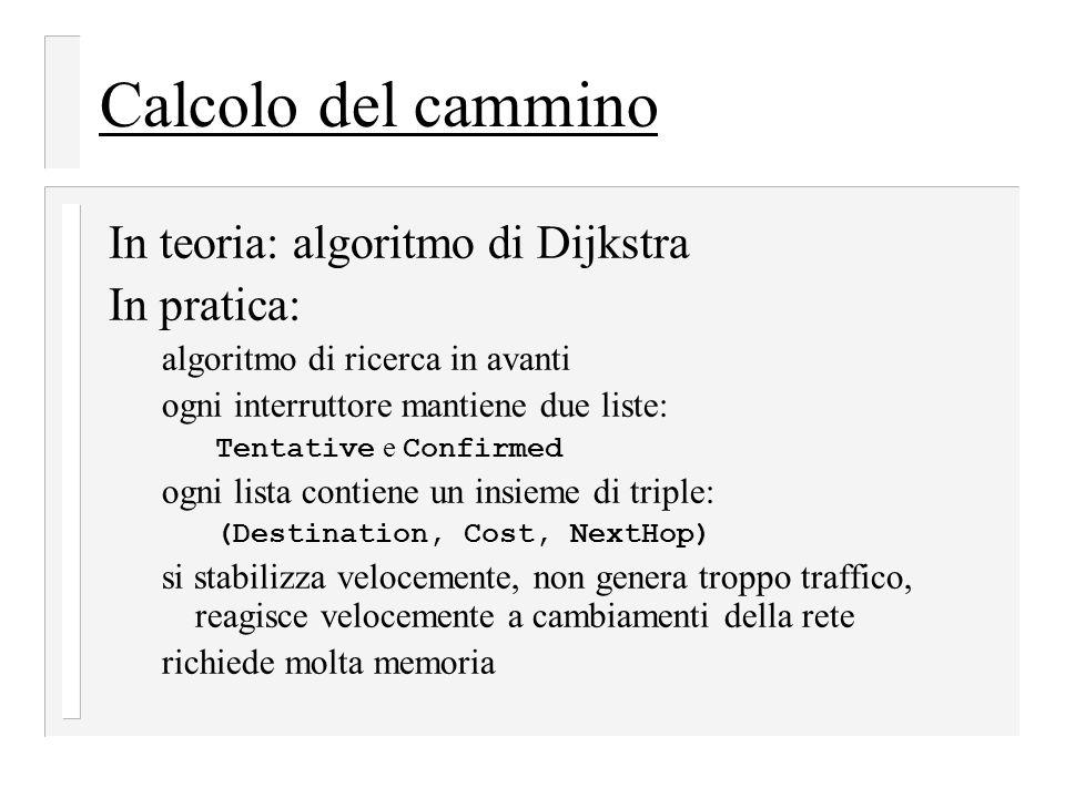 Calcolo del cammino In teoria: algoritmo di Dijkstra In pratica:
