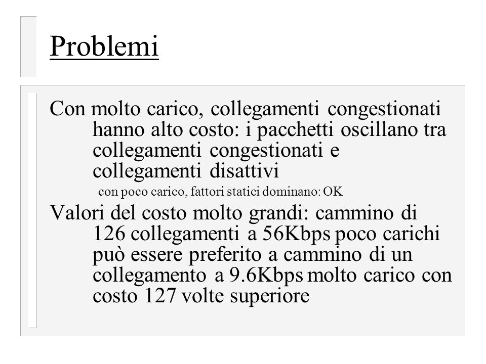 Problemi Con molto carico, collegamenti congestionati hanno alto costo: i pacchetti oscillano tra collegamenti congestionati e collegamenti disattivi.