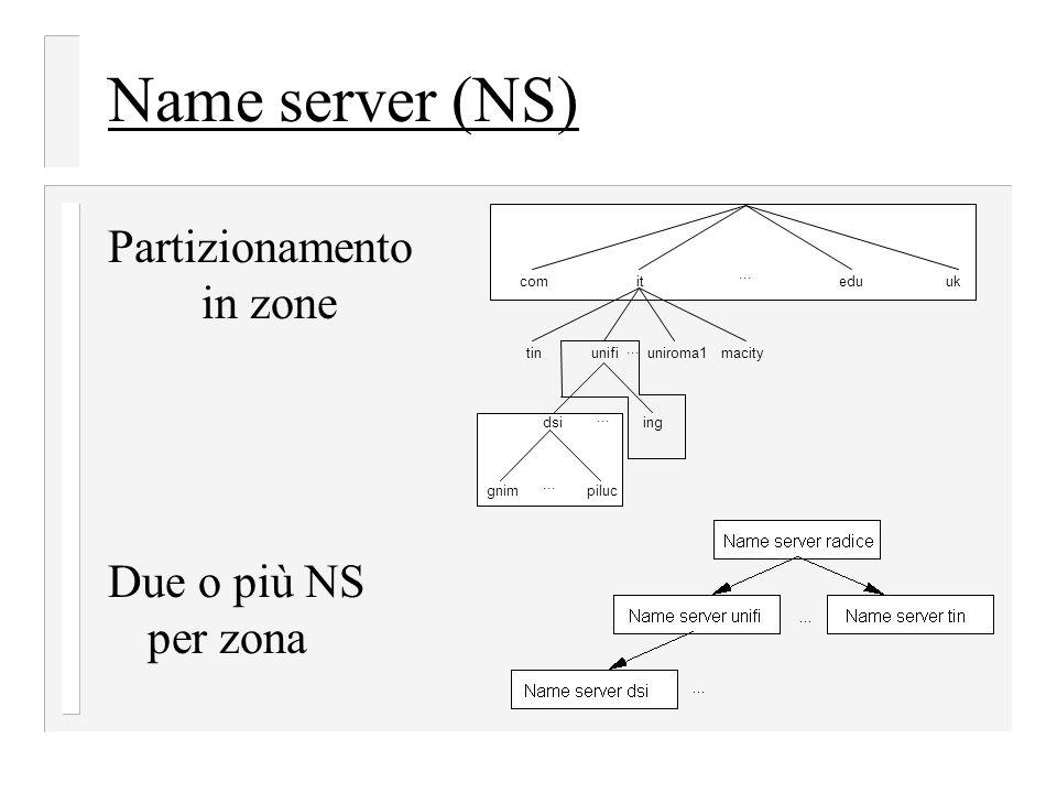 Name server (NS) Partizionamento in zone Due o più NS per zona ... it