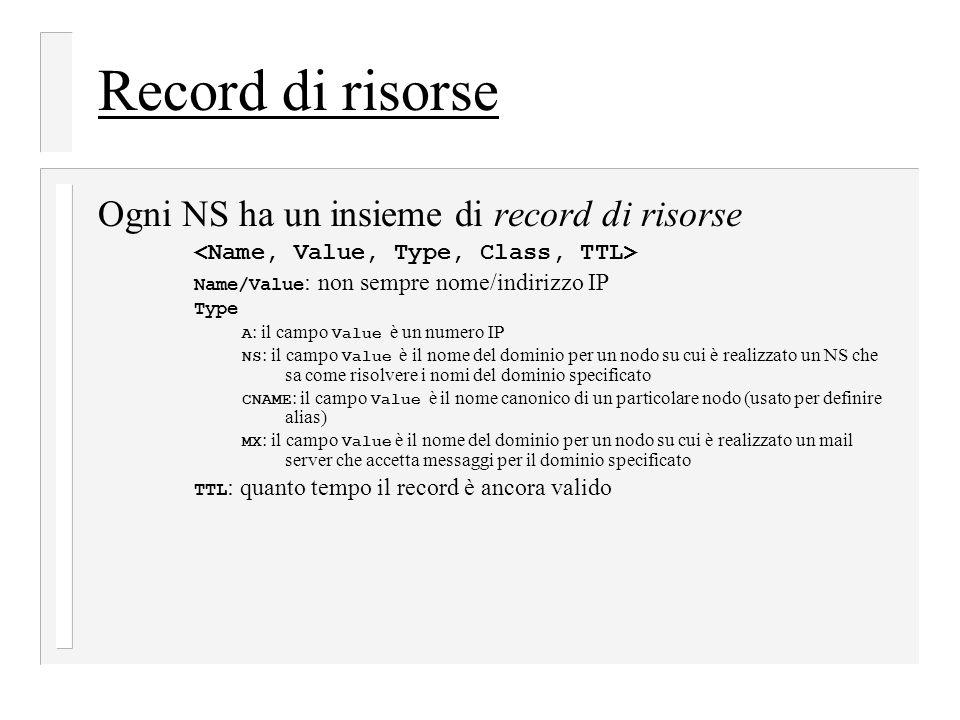 Record di risorse Ogni NS ha un insieme di record di risorse