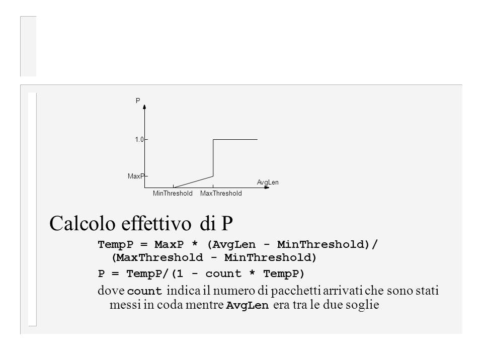 Calcolo effettivo di P TempP = MaxP * (AvgLen - MinThreshold)/ (MaxThreshold - MinThreshold) P = TempP/(1 - count * TempP)