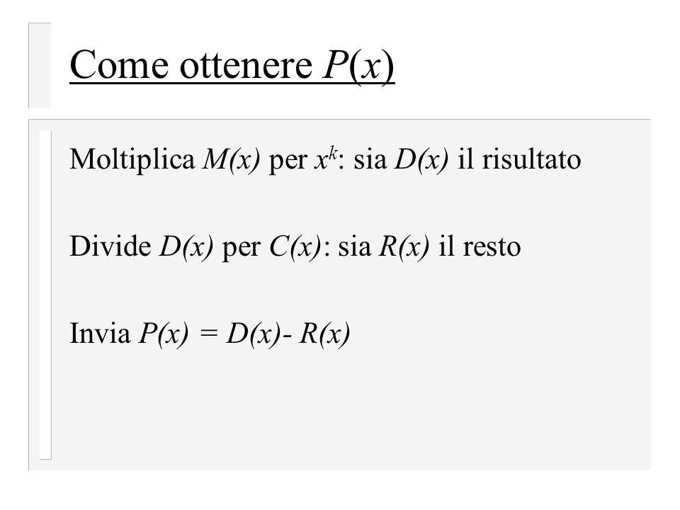 Come ottenere P(x) Moltiplica M(x) per xk: sia D(x) il risultato